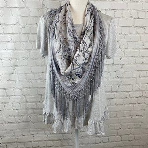 Style & Co NWT Gray Striped Knotted Scarf Tee